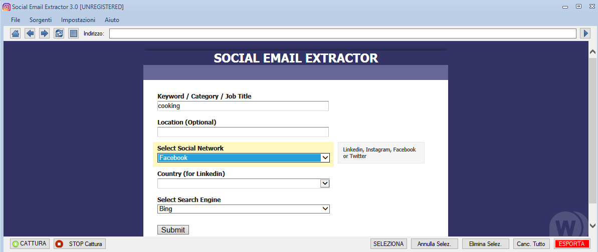 Social Email Extractor