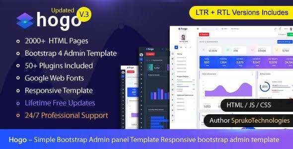 Hogo v2.0 - Multipurpose Bootstrap Admin Panel Template