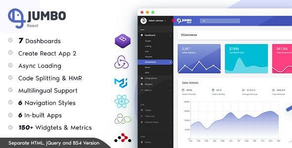 Jumbo React v3.1.2 - admin panel template BootStrap 4