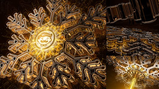 Snowflake Opener 3D - Gold Metal Intro - Syfy Winter - High Technology Snow Intro- HUD Logo- New Year