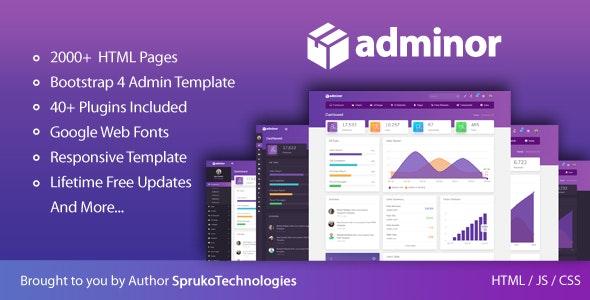 Adminor v1.0 - Modern HTML5 Bootstrap 4