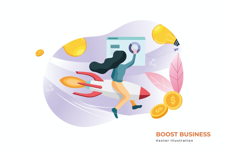 Boost business vector illustration