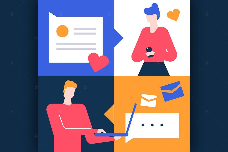 Dating app - flat design style illustration