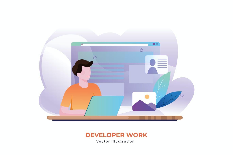 Developer work vector illustration