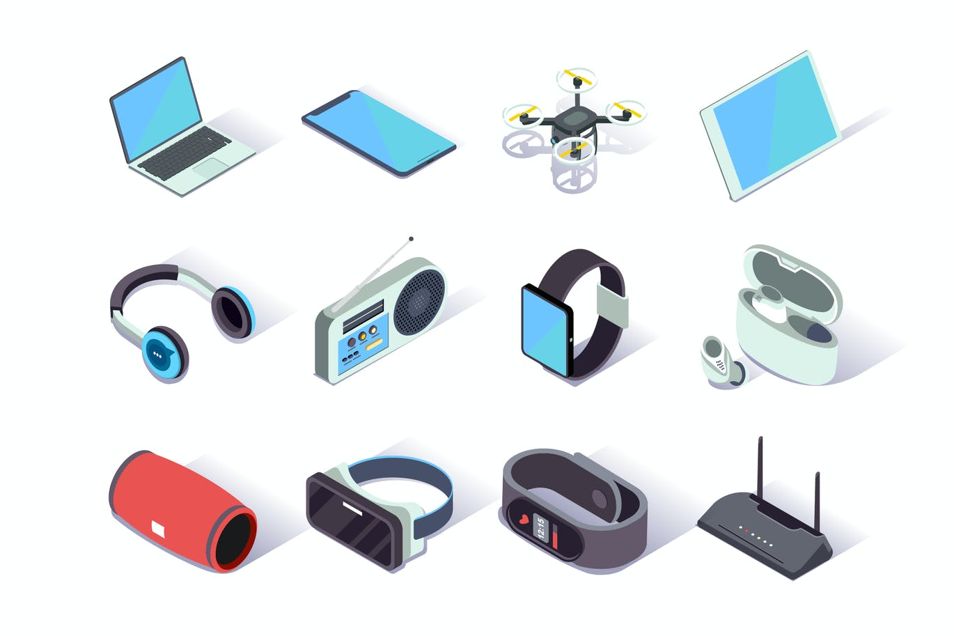 Devices and Gadgets Isometric Icons Set