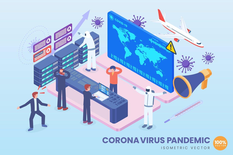 Isometric Corona Virus Pandemic Vector Concept