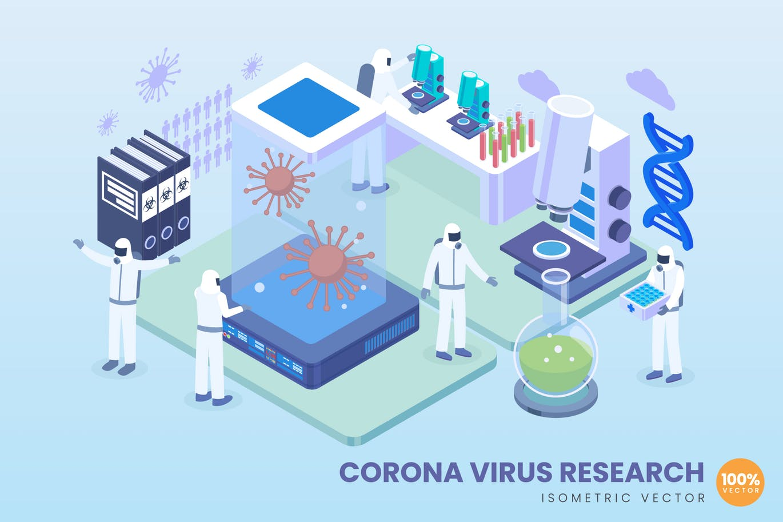Isometric Corona Virus Research Vector Concept