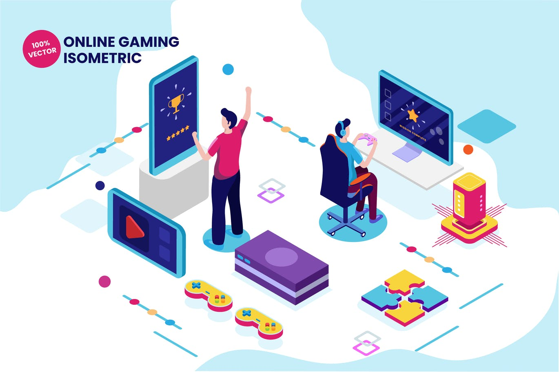 Isometric Online Gaming Vector Illustration