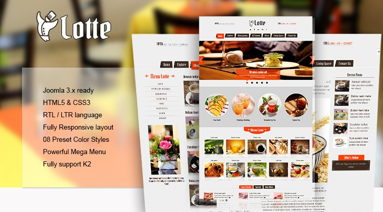 Joomla template for a restaurant hotel or tourism