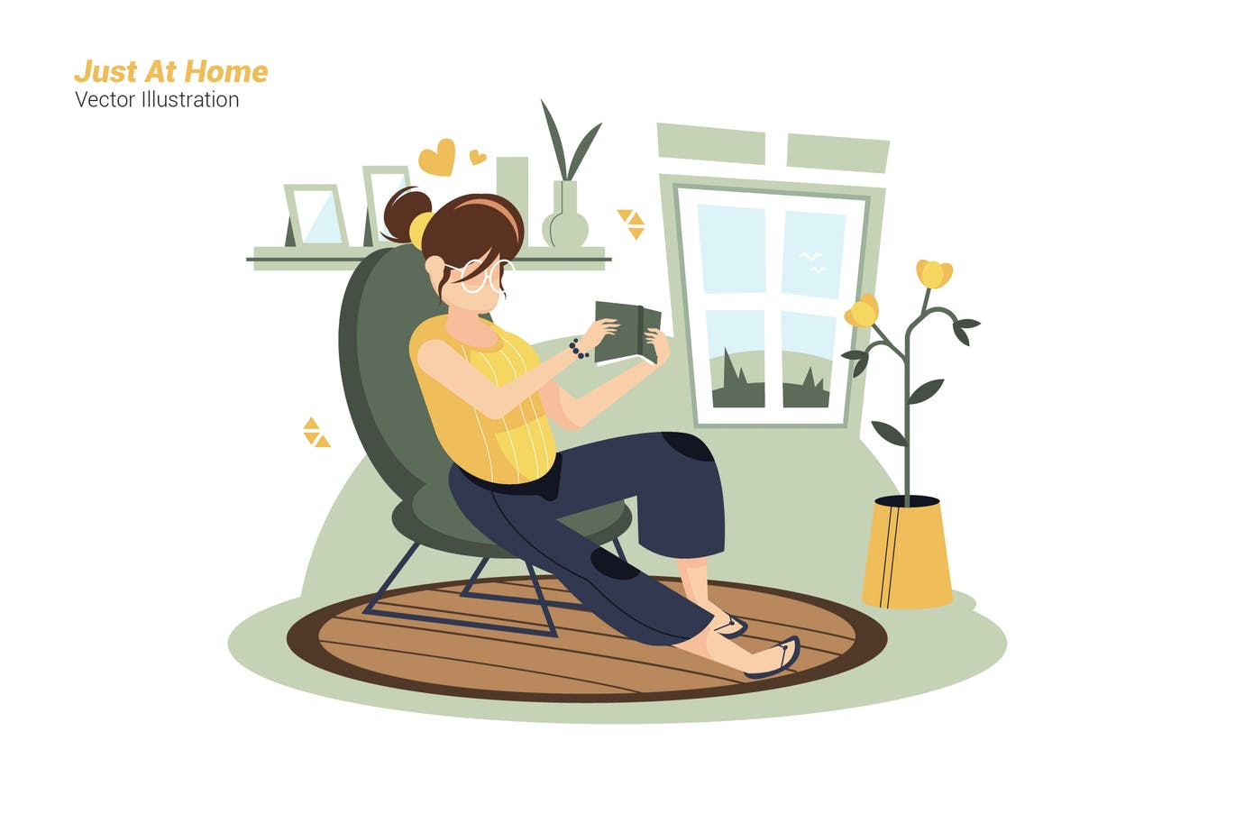 Just At Home - Vector Illustration
