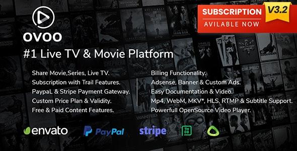 OVOO v3.2.6 - Live TV & Movie Portal CMS with Membership System