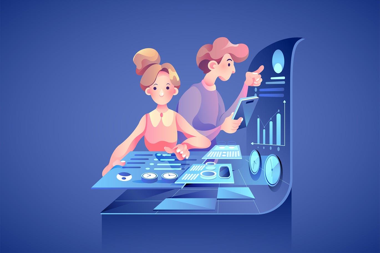 Online digital marketing team attracting customers