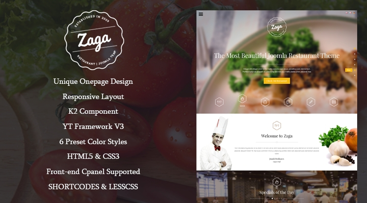 SJ Zaga - template for Joomla restaurant