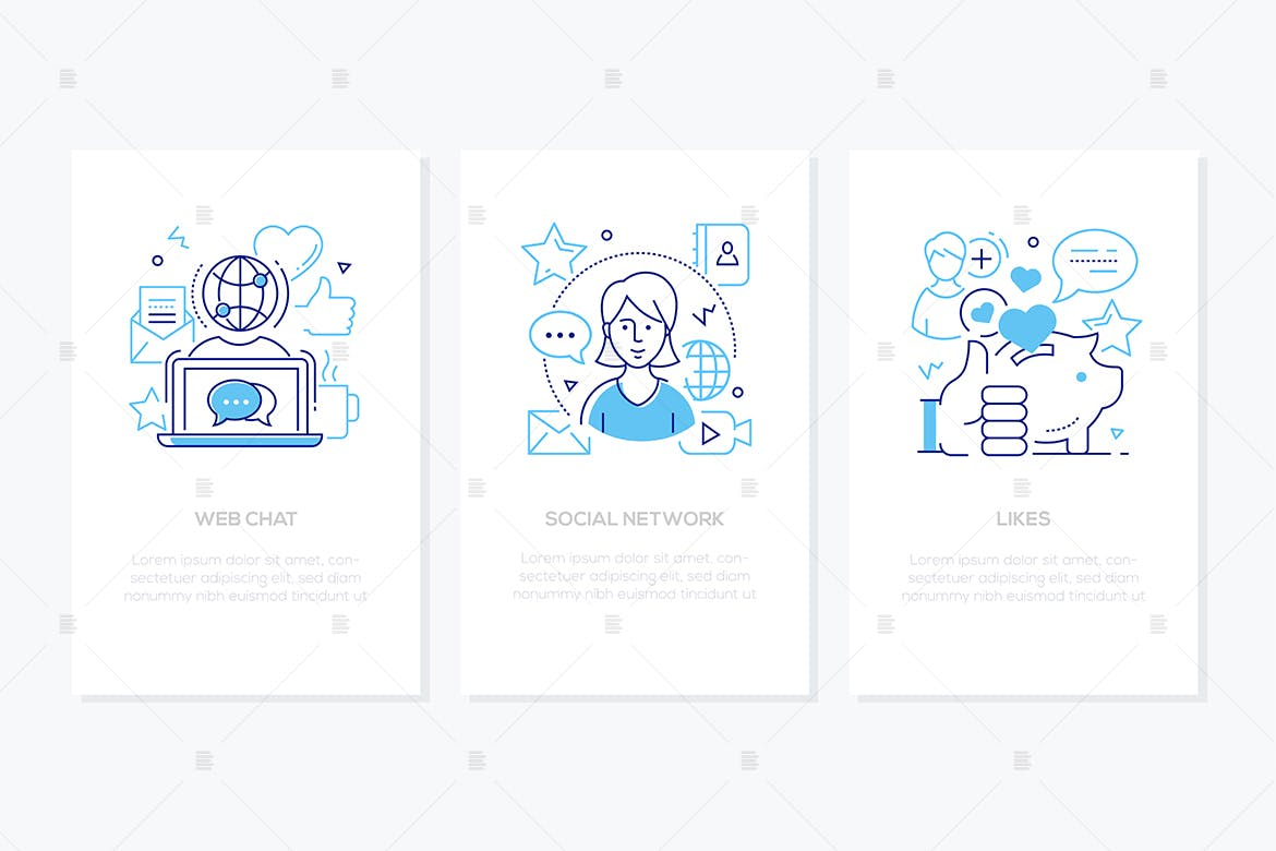 Social network concept - line design style banners