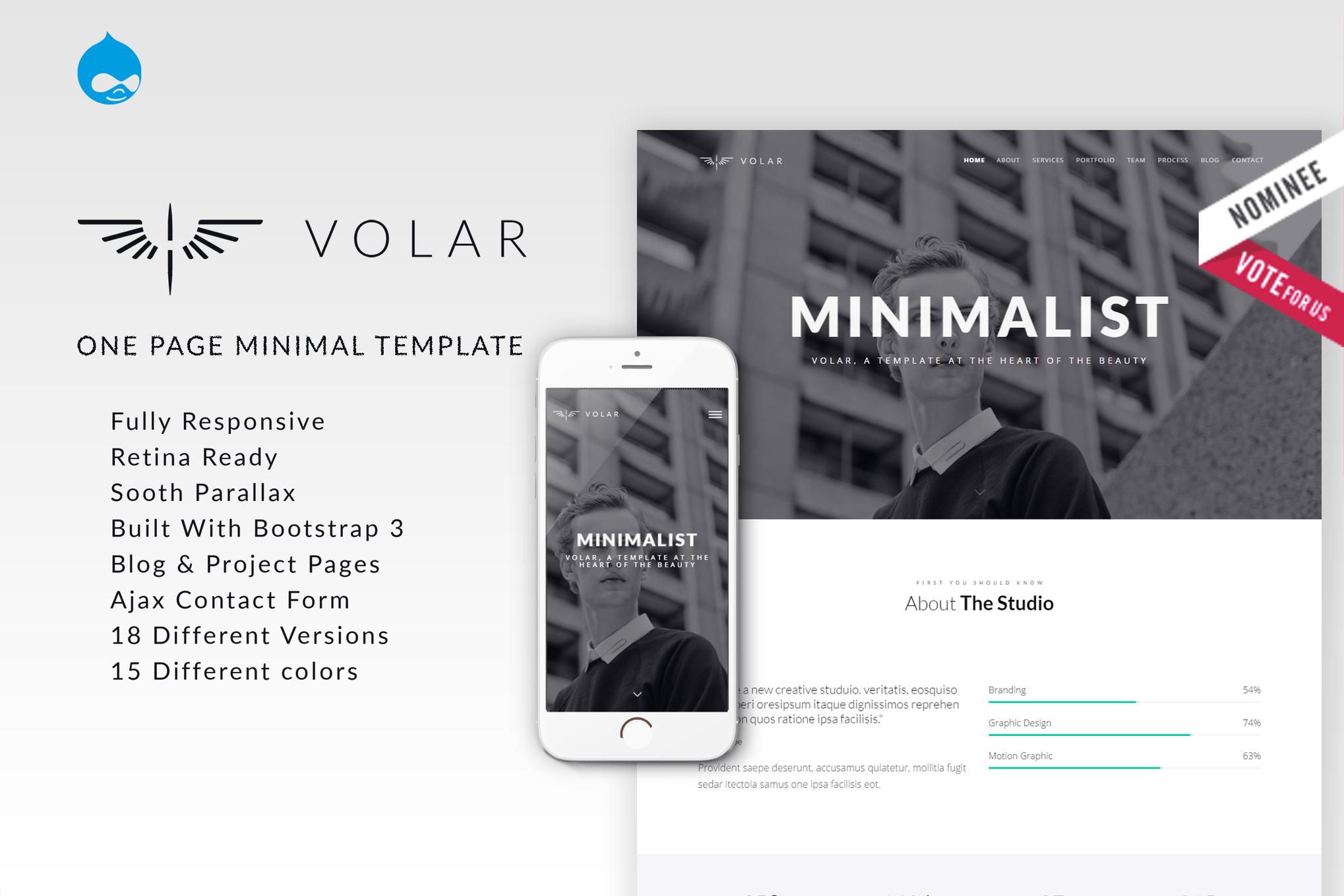 Volar - One Page Minimal Parallax Drupal Theme