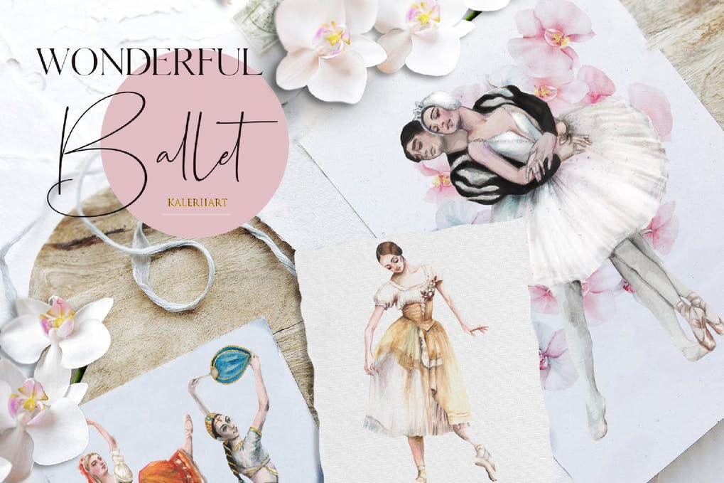 Watercolor ballet dancers illustrations set