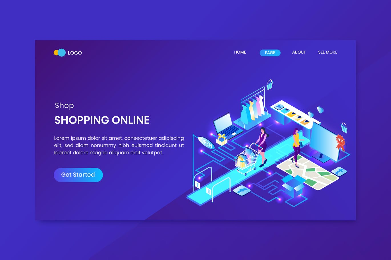 Online Shopping Isometric Concept Landing Page