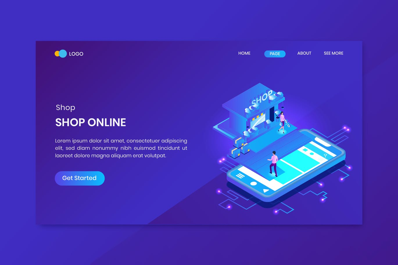 Shopping Online Isometric Concept Landing Page