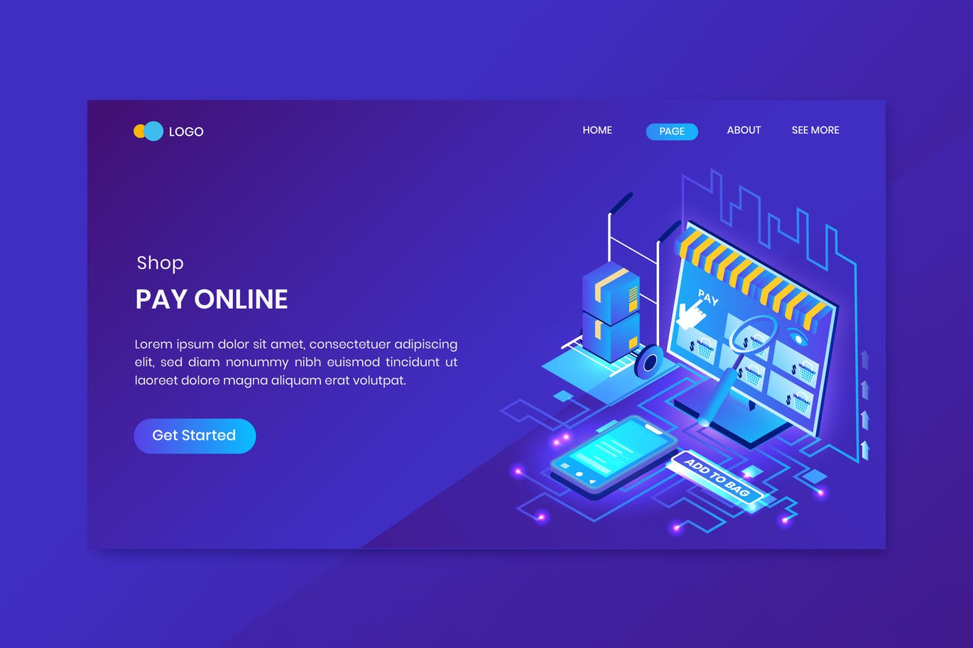 Shopping Pay Online Isometric Concept Landing Page