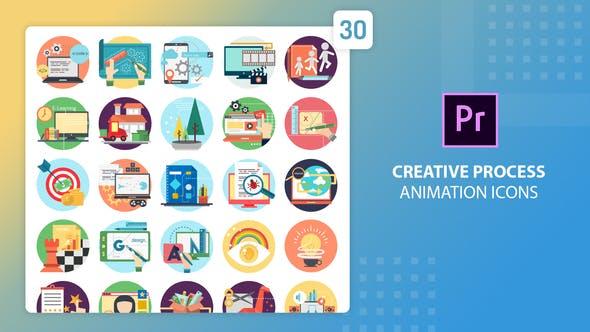 Creative Process Animation Icons - Premiere Pro MOGRT