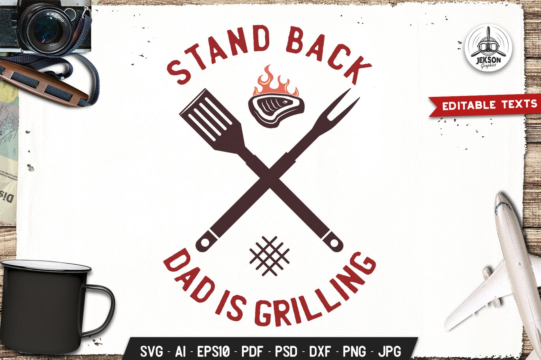 Dad Grilling BBQ Logo Design Retro Vector Badge