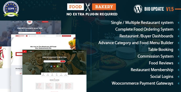 FoodBakery - Food Delivery Restaurant Directory WordPress Theme