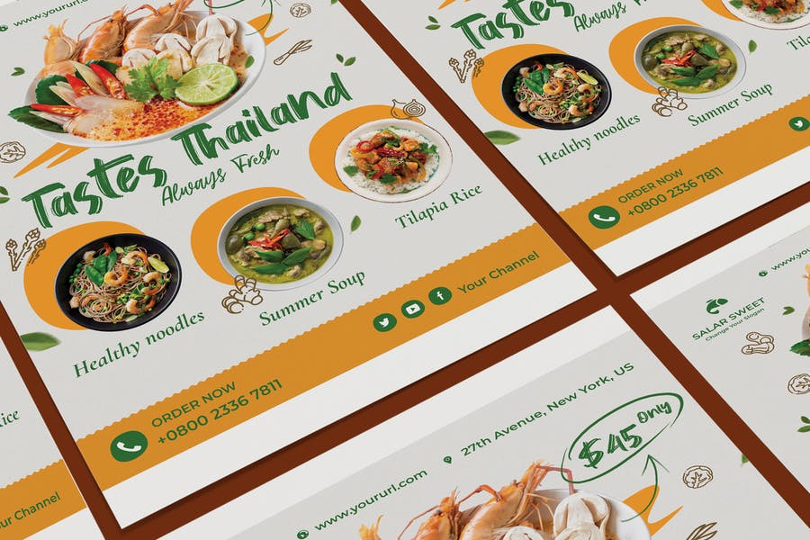 Fresh Food Poster PSD Template
