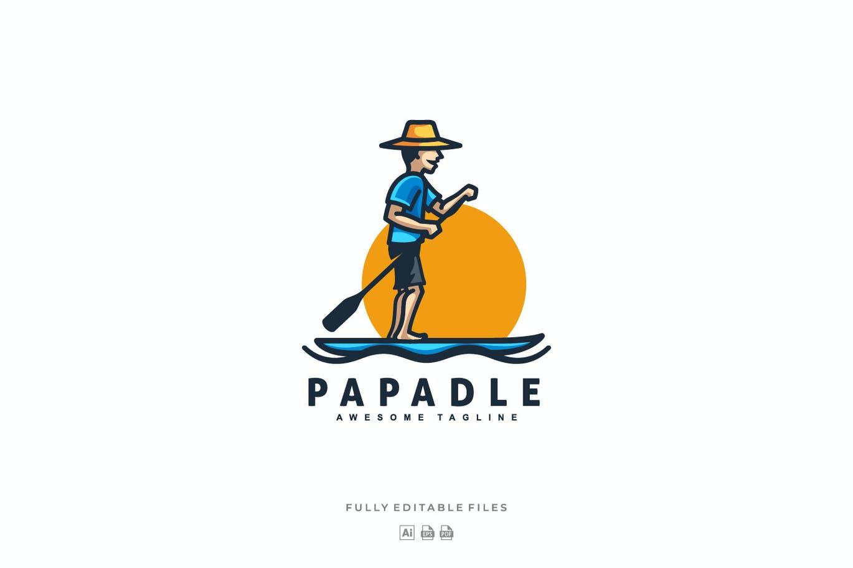 Papa Paddle Mascot Cartoon Logo