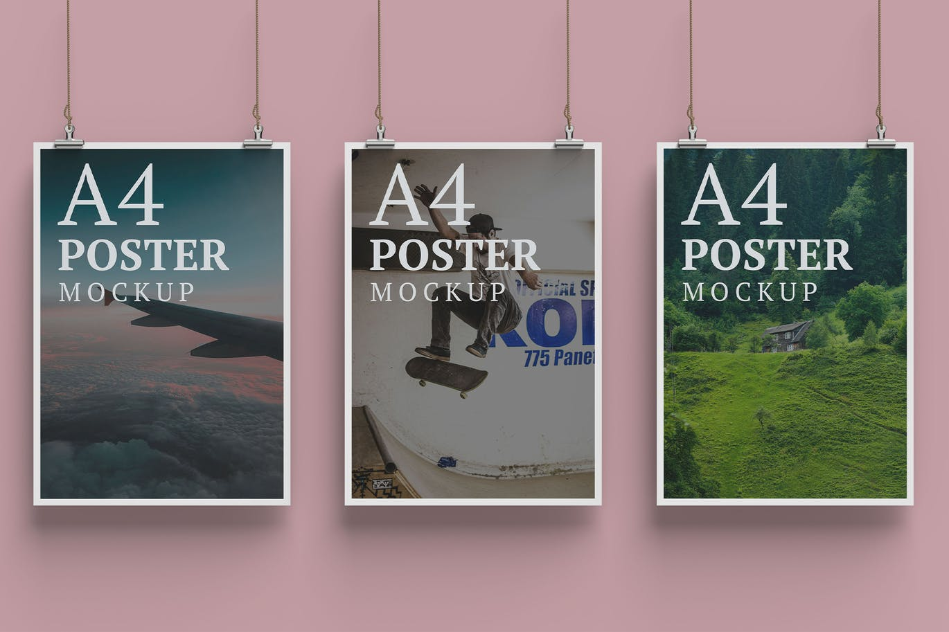 Three A4 Poster Mockup Front Angle View