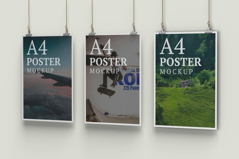 Three A4 Poster Mockup Right Angle View