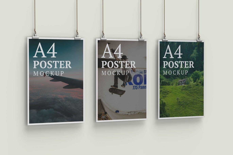 Three Poster Mockup Left Angle View