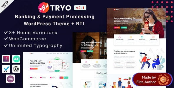 Tryo - Elementor Online Banking & Payment Processing WP Theme