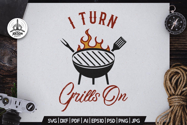 Turn Grill On BBQ Logo Design Retro Vector Badge