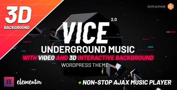Vice 2.0.1 Underground Music Elementor WordPress Theme