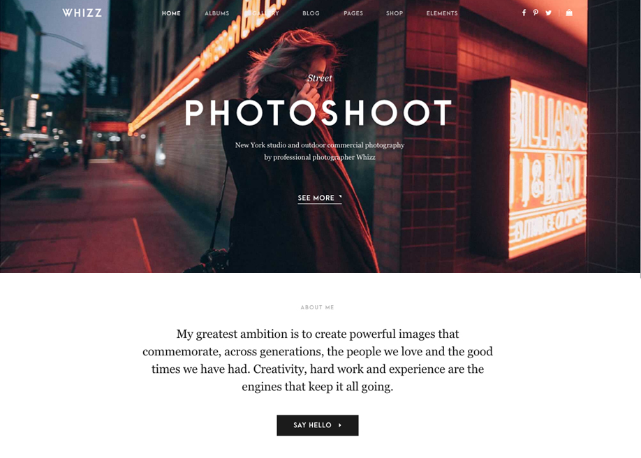 Whizz Photography WordPress