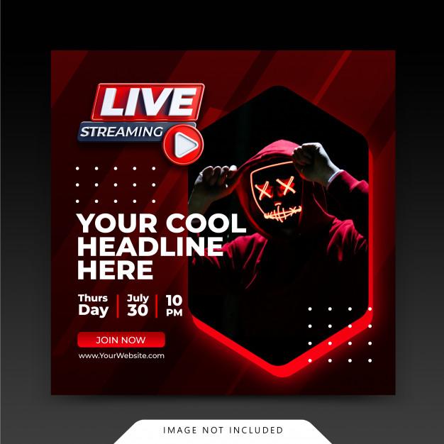 Neon retro concept live streaming instagram post social media post template