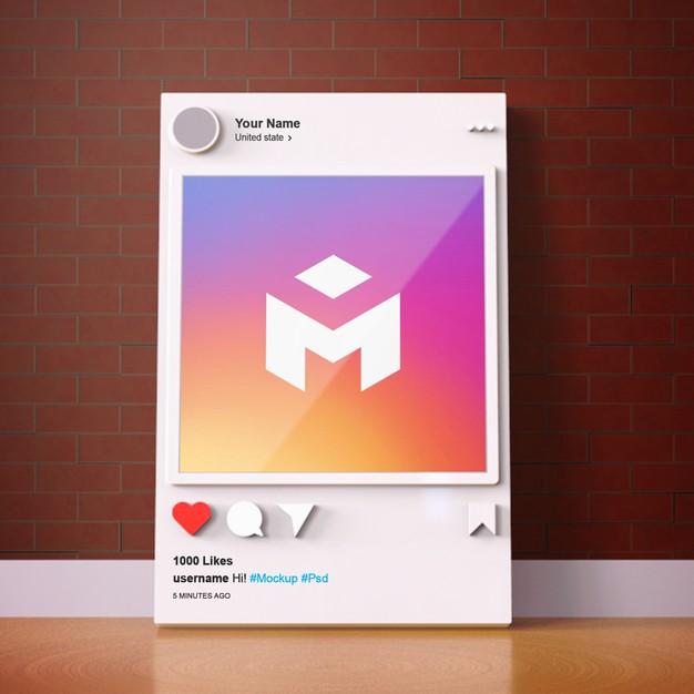 3d interface social media instagram mockup template Premium Psd