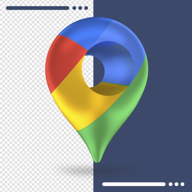 3d rotated logo of google maps in 3d rendering Premium Psd