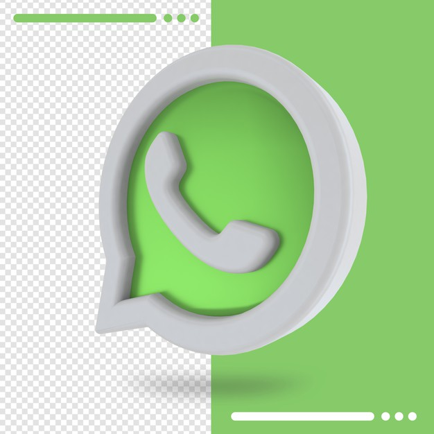 3d rotated logo of whatsapp in 3d rendering Premium Psd