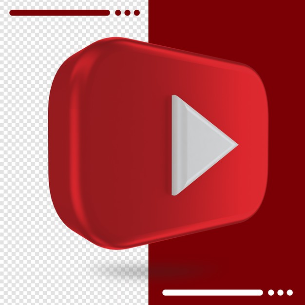 3d rotated logo of youtube in 3d rendering Premium Psd