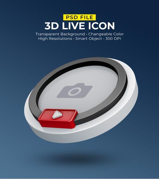 3d social media icon avatar live streaming Premium Psd