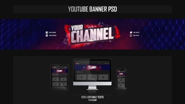 Banner for youtube channel with fight concept