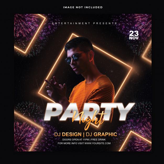 Club party instagram post template Premium Psd