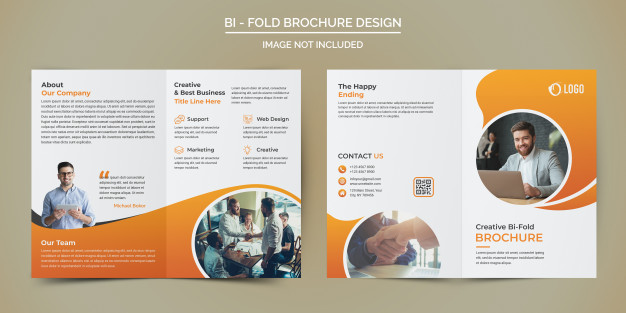 \\Corporate business bi fold brochure template Premium Psd