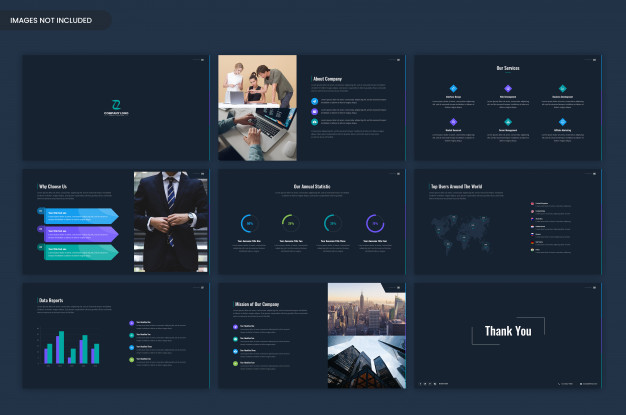 dark business presentation and project overview template
