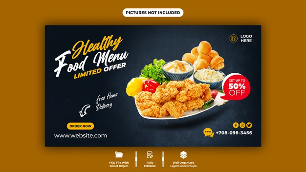 Delicious food and web banner template Premium Psd