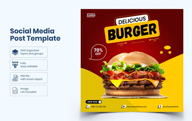 Delicious food social media banner template Premium Psd