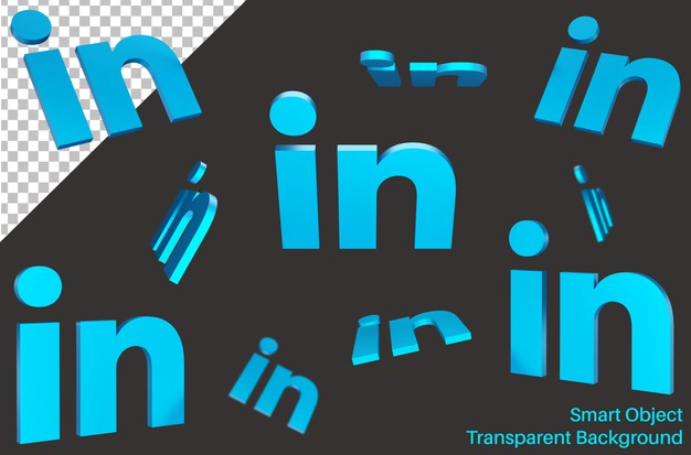 Falling linked in social media logo in 3d style Premium Psd