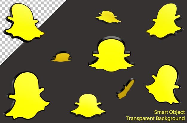 Falling snapchat social media logo in 3d style Premium Psd