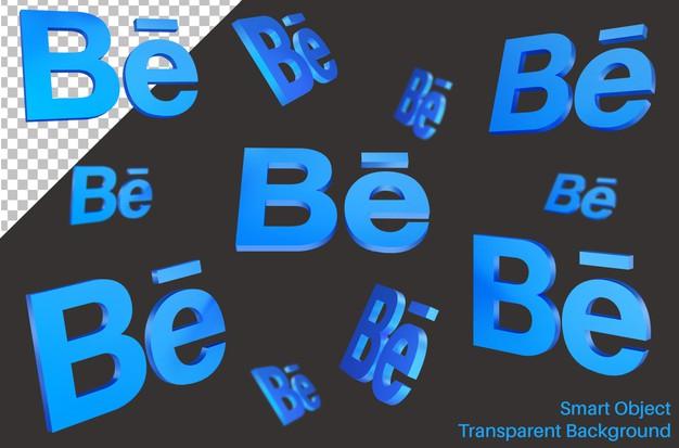 Flying behance social media logo in 3d style Premium Psd